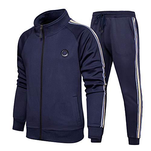 Aotorr Survêtement Homme Ensemble Veste Blouson Sweat et Pantalon Jogging Bleu L