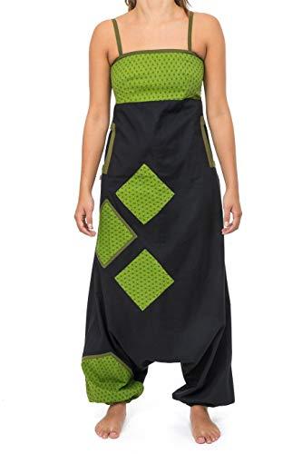 FANTAZIA Combinaison saroual Patchwork Geometric Star Jina Noir Vert - Taille S au XXXL - 100% Coton - Noir - Baba Cool Roots - Confortable & Original - Créé en France, Fabrication Ethique
