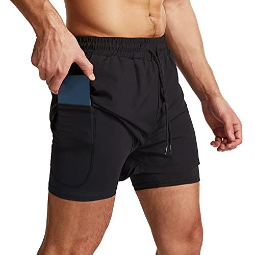 Danfiki Short de course à pied pour homme avec poche pour téléphone 2 en 1, léger, séchage rapide, Noir , M