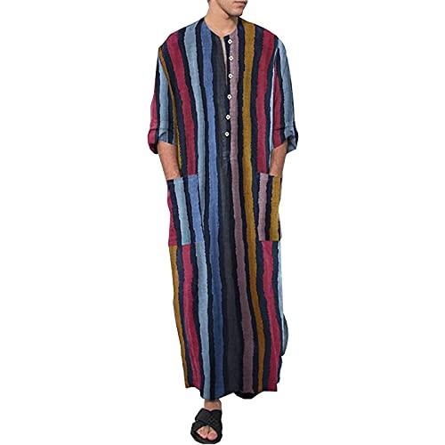 acsefire Robe Musulmane pour Hommes Chemise décontractée Caftan Moyen-Orient saoudien Arabe Robes rayées imprimées Robes Ethniques avec Poches
