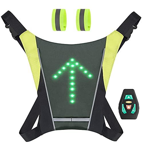 ATTABIKE 2021 Nouvelle Technologie 48 Gilet LED Réfléchissant de Cyclisme avec Deux Bracelets réfléchissants, Clignotant Vélo Rechargeable USB avec Manuel d'instructions en français.
