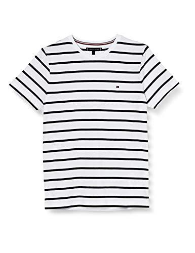 Tommy Hilfiger T-Shirt ajusté en Coton Bio Stretch Chemise, White, M Homme