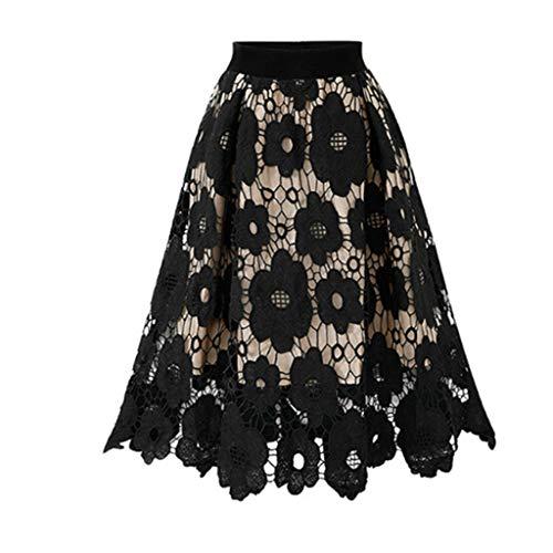 ELECTRI Jupe Longue, Vintage Jupe Tulle Femme Sexy Imprimé Floral Taille Haute Élastiquée Taille Rétro Dentelle Jupe Plissée Femme