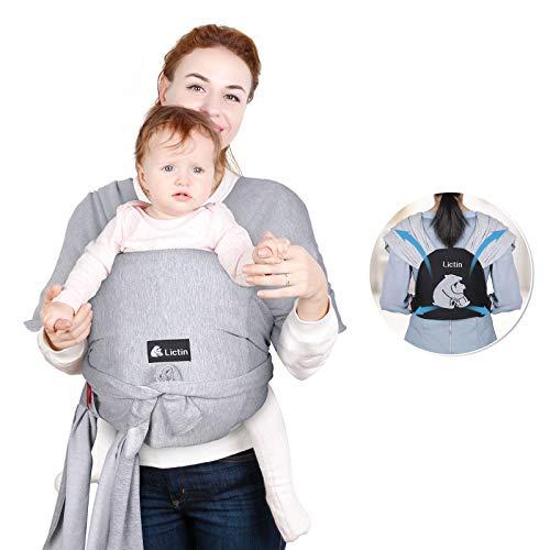Lictin Porte BéBé - Echarpe de Portage Bebe Elastiques, Echarpe Porte-Bébé Extensible Tout-en-un Convient aux Nouveau-nés et Les Enfants De Moins De 18.4 kg / 40.5 lbs(Gris Clair)