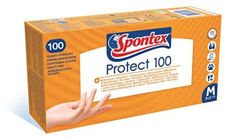 SPONTEX - Protect 100 - Boite de 100 Gants Fins Jetables Hypoallergéniques en Vinyle - Sans Latex - Multi usages et Résistants - Taille M