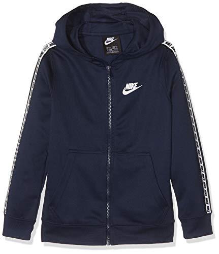 Nike B NSW Repeat FZ Poly Hood Sweat-Shirt Garçon, Obsidian/White, FR : S (Taille Fabricant : S)