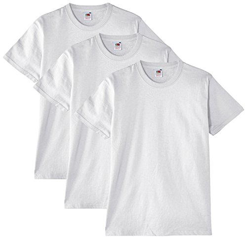 Fruit of the Loom - Heavy Cotton - T- Shirt (Lot de 3) - Homme - Blanc - Taille: XL