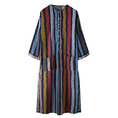 kdjsic Hommes Musulman coloré rayé Caftan Robe Arabe à Manches Longues Boutons Maxi lâche Tunique Hauts avec Poches vêtements de Dubaï