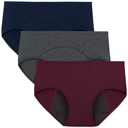 INNERSY Culotte Menstruelle Flux Abondant Shorty Femme Coton sous Vetement Périodique Lot de 3 (XS-EU 36, Marine/Girs/Vin-Doublure Sombre) prix et achat