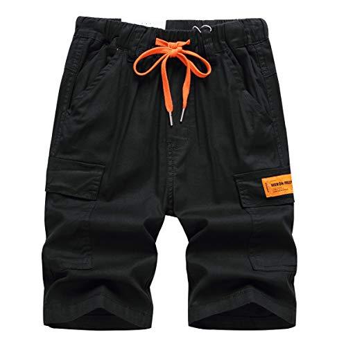 YoungSoul Short Cargo Garcon Bermudas Coton Enfant Pantalons Été Taille Élastiquée Pantacourts avec Cordon de Serrage Contrastant Noir 2/9-10 Ans Taille 150