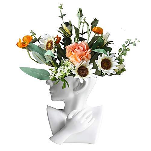 Maygone Vase en céramique blanche avec tête de femme séchée pour décoration de table