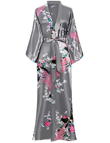 BABEYOND Kimono Robe de Nuit Femme Robe de Chambre Longue Robe de Nuit Peacock Kimono Long...