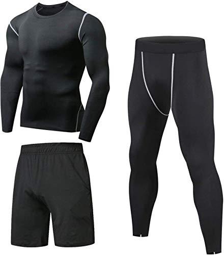 Niksa Ensemble Compression Homme Tenue Sport Fitness Vêtement Running Tee Shirt Compression Legging Sport Short Running Noir XL