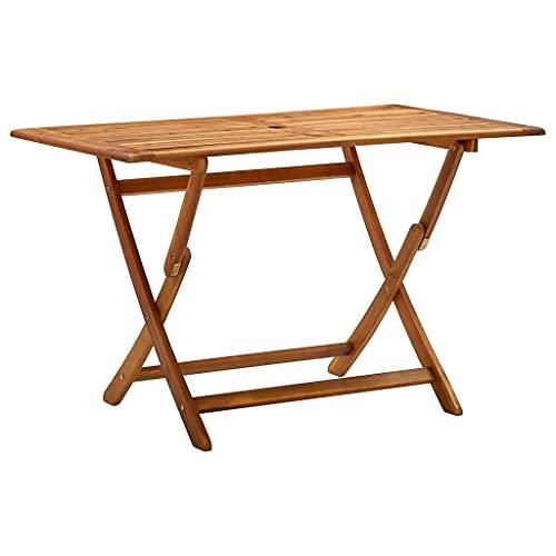 vidaXL Bois d'Acacia Massif Table de Jardin Pliable Table de Salle à Manger de Patio Meuble d'Extérieur Terrasse Véranda 120x70x75 cm