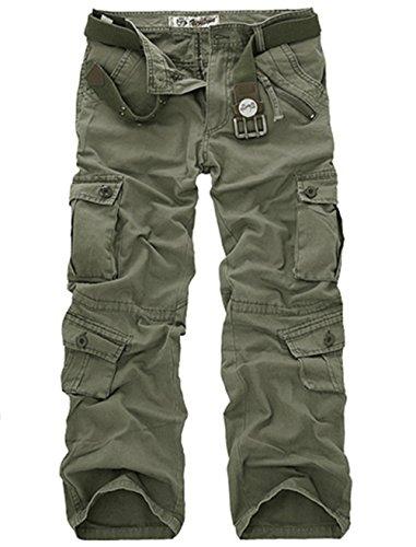 LANBAOSI Hommes durables Poches Multi/Pantalons Camo Cargo Solides, Vert armée L l, 32:waist...