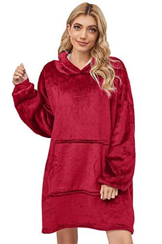 Tuopuda Sweat à Capuche Couverture Pull Plaid Capuchon Adulte Femme Homme Unisexe Épaisse Sweat Plaid Automne Hiver Garder au Chaud Peignoir Réversible Hoodie Plush Sweatshirt (Rouge)