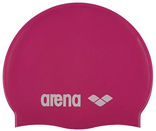 Arena Classic Silicone JR Bonnet de piscine Mixte Enfant, Fuchsia/Blanc, Taille Unique