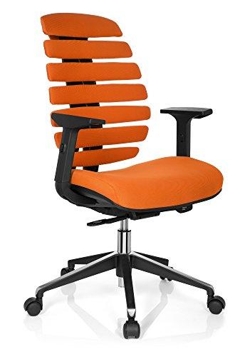 hjh OFFICE 714520 Fauteuil bureau ergo ERGO LINE II Chaise de bureau avec soutien lombaire, revêtement tissu orange