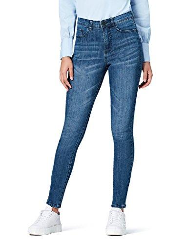 Marque Amazon - find. Jean Skinny Taille Haute Femme, Bleu (Mid Wash), 34W / 32L