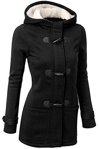 GHYUGR Femmes Manteaux à Capuche Bouton Corne Blouson Veste Jacket Chaud Épais Hoodie Hoody Outwear Automne Hiver Slim Fit,Noir,XL