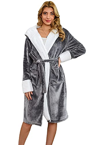 CMTOP Peignoir de Bain Femme Kimono Peignoir Satin Femme Pyjama Peignoir Femme Coton Léger Kimono Robe de Nuit Femme Robe (Gris, Taille unique)