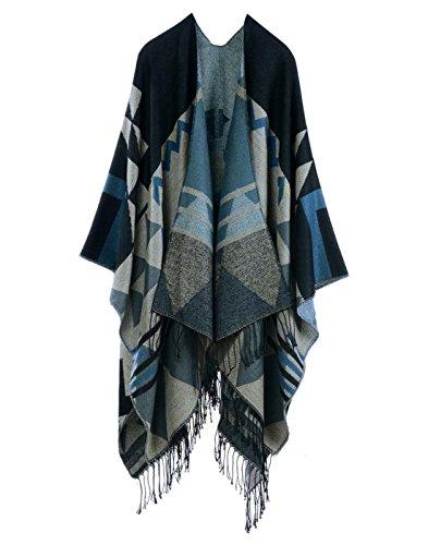 Anself Bohême long surdimensionnée Tricoté Châle, Poncho Taille unique Bleu foncé