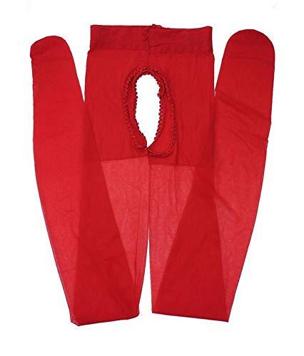Générique Collants sexy rouge ouvert à l'entrejambe devant et derrière, taille M.