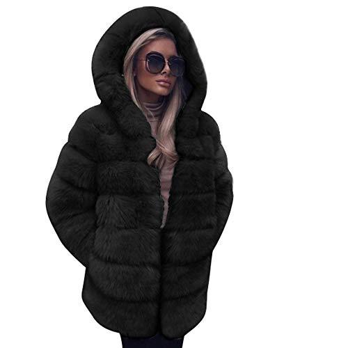 SamMoSon Discount,Blouson Femme Bleu Marine Vêtements Femme Mode Luxe Faux Fourrure Manteau Encapuchonné L'automne Hiver Chaud Pardessus Noir XL prix et achat