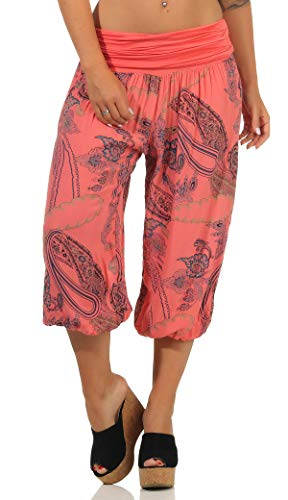 Malito Femme Pantalon Court Sarouel Yoga Pantalon Sport 7186 (Corail)