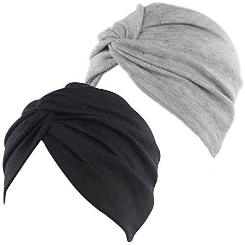 2pcs Bonnet Turban Femme Front Croisé Coton Stretch Bonnet de Nuit Chapeaux Bandeau Foulard Mode Musulmanes pour Perte de Cheveux Sortie Vacances (Noir+Gris)