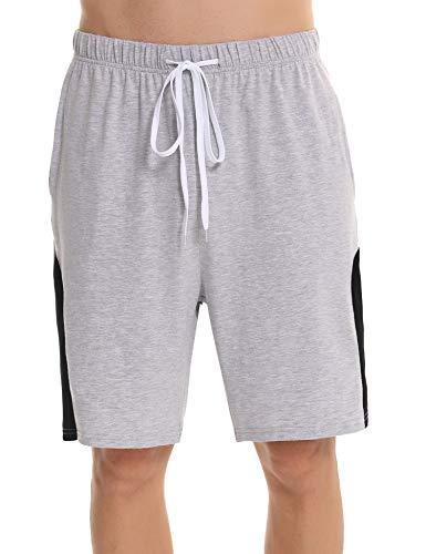 Irevial Short Homme Coton Pantalon Court Homme Été Bas de Pyjama avec Poches et Cordon à la Taille, S, Gris