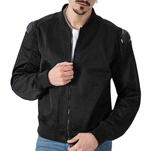Veste de Moto en Maille Respirante pour Hommes et Femmes Veste Moto Armure de Protection Adaptée aux Vélos d'été (Noir, Grand)