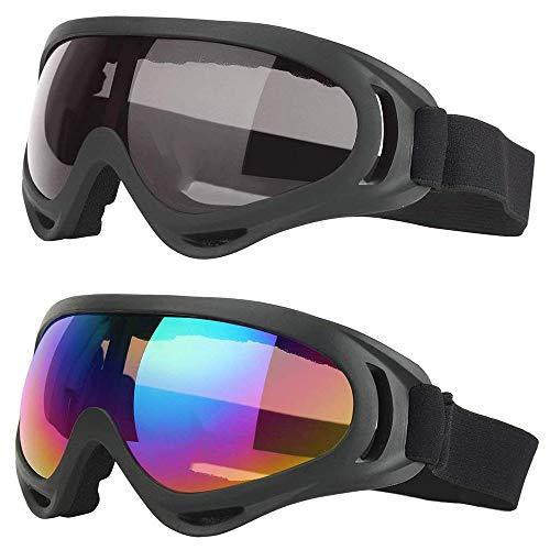2 Pièces Lunettes de Ski de Plein Air, Lunette de Ski Homme & Femme, Ajustable Brise-Vent Protection UV PC ère Lunettes de Neige pour Le Ski pour l'Alpinisme, Le Ski, Le Surf (Coloré, Gris)