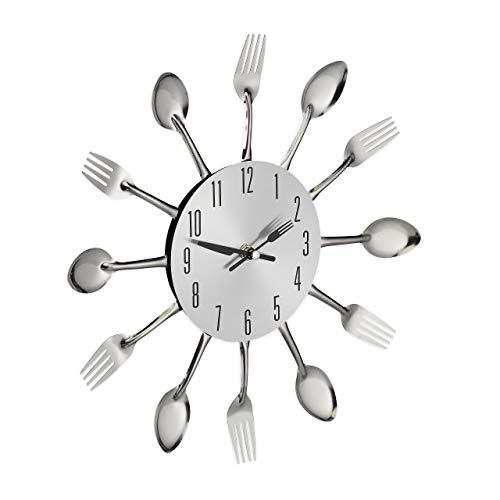 Relaxdays Horloge Murale Couverts, Montre de Cuisine cuillères &...