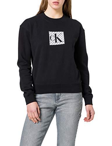 Calvin Klein Jeans Hologram Logo Crew Neck Sweater, CK Noir, XS Femme
