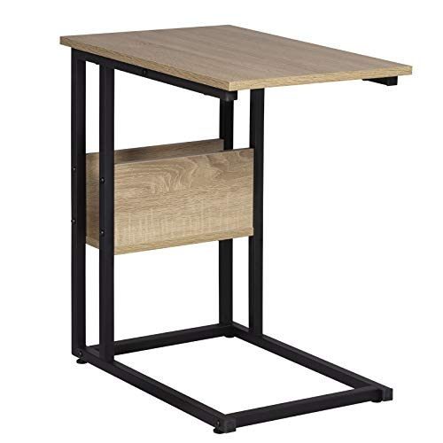 WOLTU Table Bout de canapé Table Basse à thé en métal et aggloméré Chêne Clair TS79hei