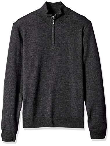 Marque Amazon – Goodthreads Pull en laine mérinos avec fermeture éclair courte pour homme, Gris (charcoal Cha), US L (EU L) prix et achat