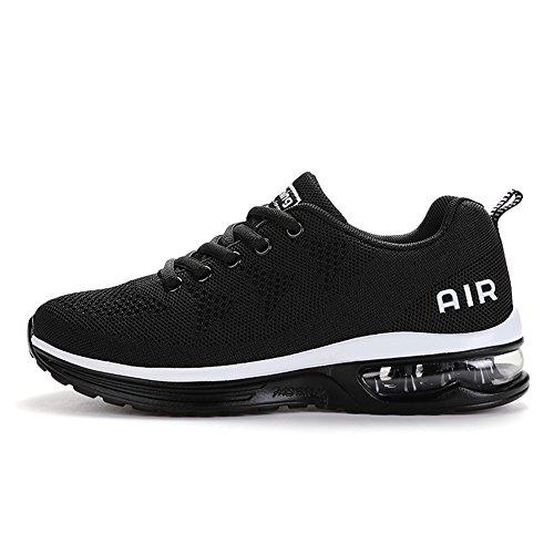 Axcone Homme Femme Air Baskets Chaussures Outdoor Running Gym Fitness Sport Sneakers Style Running Multicolore Respirante- 36EU-46EU, Blanc Noir, 40 EU