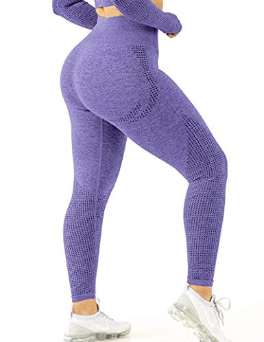 CLOUSPO Fitness Legging de Sport Femme Pantalon de Yoga Fitness Gym Taille Haute sans Couture Slim Push Up Butt Lifter Pants (Violet, M)