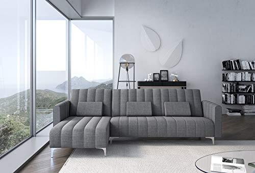 Skraut Home - Canapé d'angle Convertible en lit, Chaise Longue Milano de 267cm, Convertible en lit, réversible, Gris Clair avec Rayures.