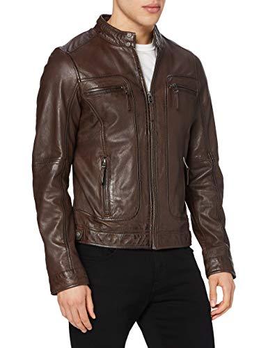 Oakwood 60901 - Veste en cuir - Col à boutons - Manches longues - Homme - Marron - Medium...