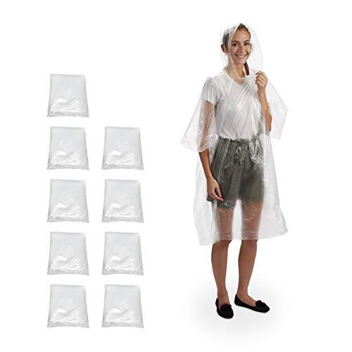 Relaxdays Lot de 10 Poncho de Pluie à Capuche jetable pour Adultes, Unisexe, PE Transparent