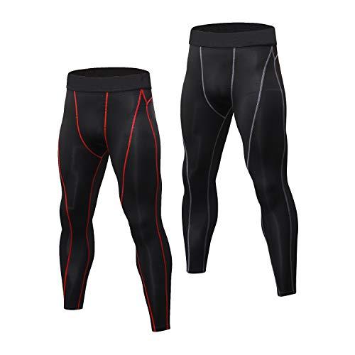 Niksa 2 Pièces Legging Sport Homme Collant Running Fitness Pantalon de Compression Noir Rouge...