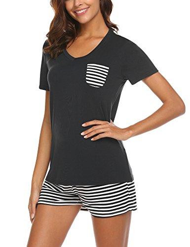 UNibelle Pyjama Shorty pour Femme avec Shorty et t-Shirt de Nuit à Manches Courtes avec...