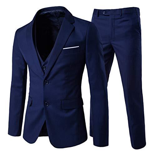 Cloud Style Costume Trois-pièces Veste Gilet Pantalon Affaires Mariage, Bleu Marine, M
