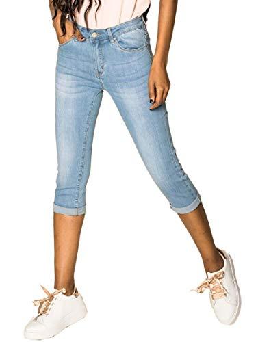 Womens Capri Jeans Shorts Stretch Skinny 3/4 Bermuda 5 Pocket Short Pants Soft Denim Casual,...
