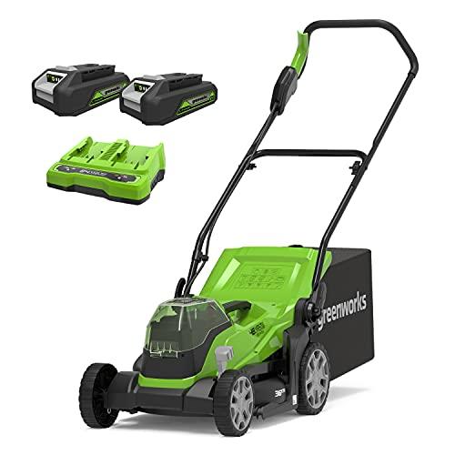 Greenworks Tondeuse à batterie G24X2LM36K2x (Li-Ion 2x 24V 36cm largeur de coupe jusqu'à 250m² 40L sac collecteur Réglage central de la hauteur de coupe incl. 2x 2Ah batterie et chargeur)