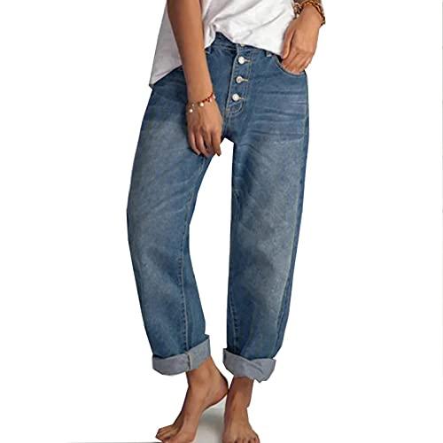 MFFACAI Jeans Femmes Streetwear Jeans Vintage Jeans Lavés Pantalons Amples Jeans À Jambes Larges Hip Hop High Street Girl Jeans (Color : Blue, Size : L) prix et achat