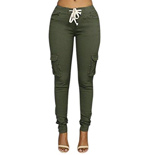 LAEMILIA Femme Pantalons Jeans Sexy Taille Haute Slim Legging Cordon Poche Crayon Casual...