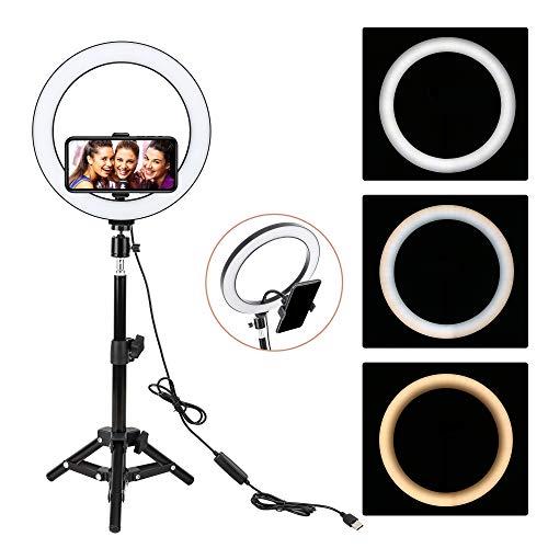 Ring Light, BONFOTO 10' Anneau Lumineux avec 45cm Trépied, Lumière Anneau Réglable avec 3 Modes d'Eclairage et 10 Niveaux de Luminosité pour Maquillage Self-Portrait Live Stream Youtube TikTok Vidéo